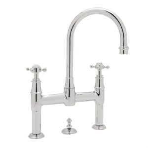 3709 Perrin & Rowe 3-hole Deck Mounted Bridge Mixer Tap With Pop-Up And Cross Handles